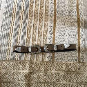 Double Buckle Western Leather Belt